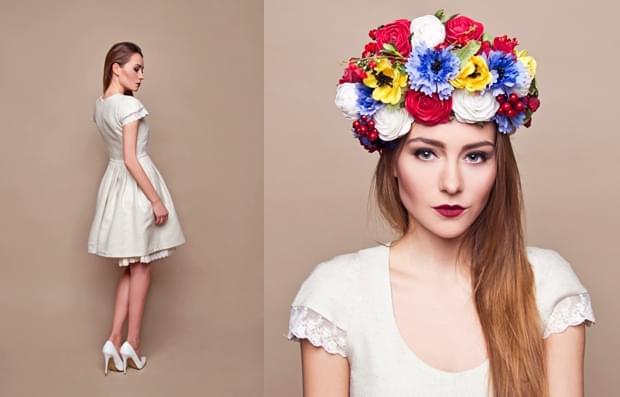 krótka-suknia-ślubna-opaska-z-kwiatów-zdjęcie