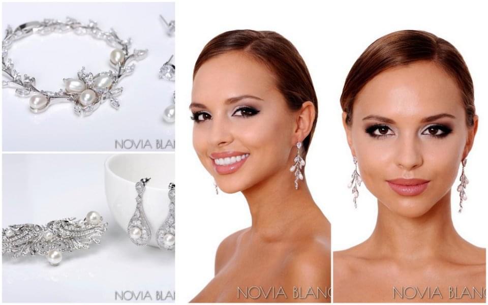 perłowa biżuteria ślub novia blanca zdjęcie