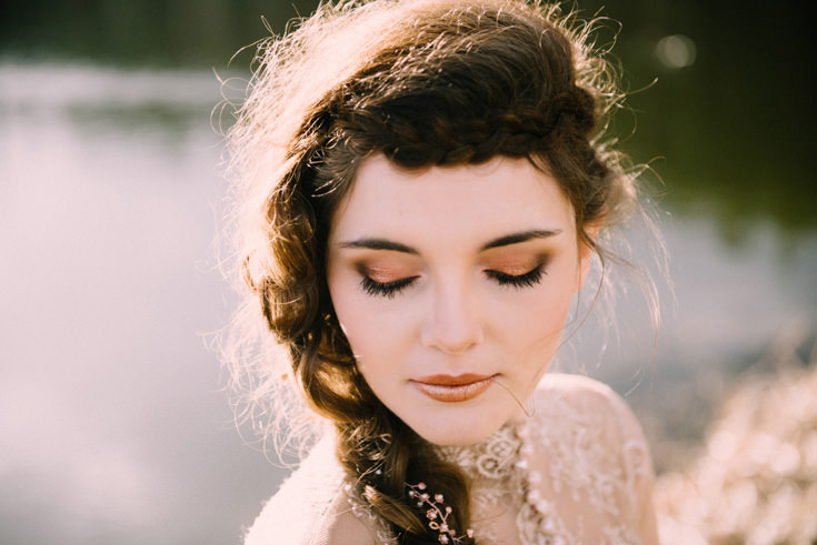 miedziany makijaz oczy szminka miedziana