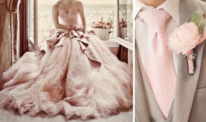 pudrowa suknia ślubna