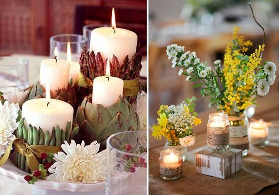 dekoracje ze świec wesele