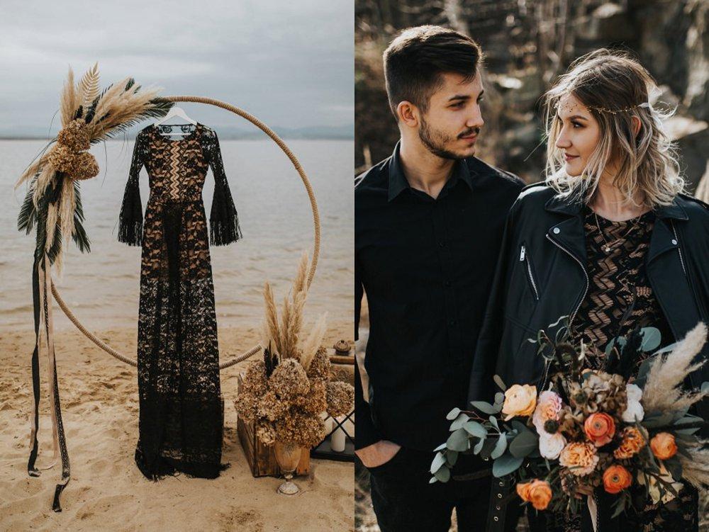 czarna suknia slubna zdjecie