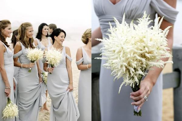 Bukiet ślubny z białej tawułki / zdjęcie: belathee.com