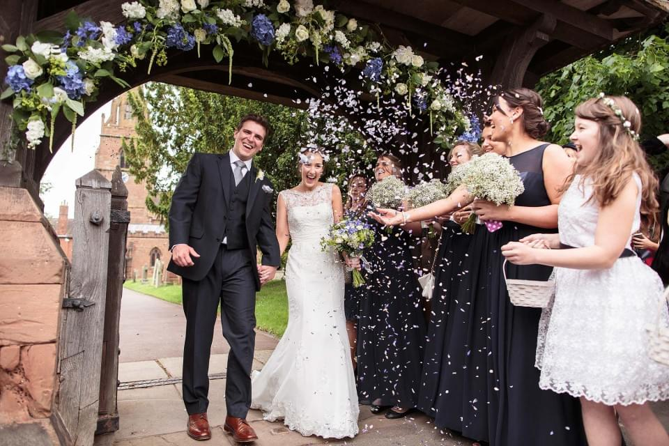 Confetti time at St Chads Church in Penn by Documentary Wedding Photographer Stuart James