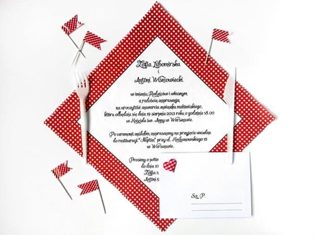 zaproszenia ślubne na serwetkach piknik