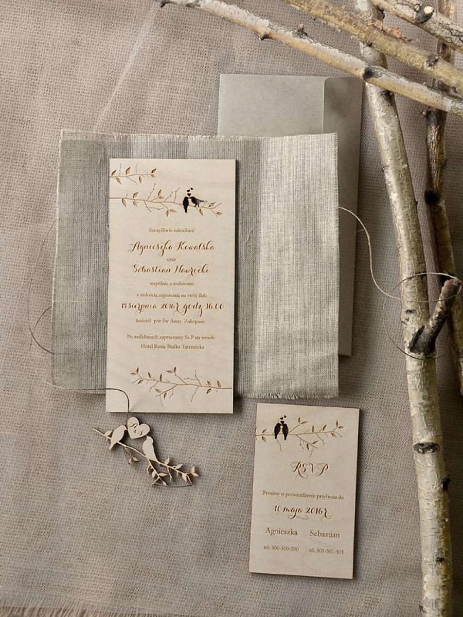 zaproszenia na ślub z drewna